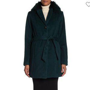 NWT Andrew Marc Wool Blend Coat Fox Fur Collar